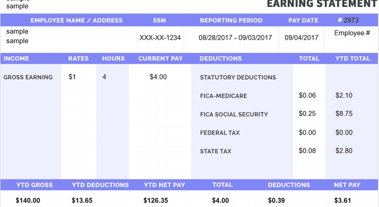 a purple sample of a free online paystub